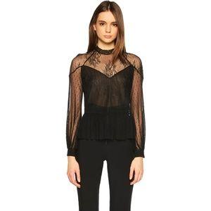 [bardot] nwot gauzy lace peplum blouse